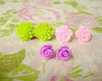Green Purple Pink Resin Flower Earrings, Resin Earrings, Resin Cabochons, Cabochons Earrings, Flower Earrings, Rose Earrings - 3 Pairs