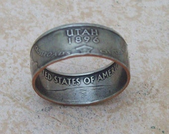 Made To Order uNiQue HaNDMaDe Jewelry UTAH STaTe QuaRTeR RiNG CHRiSTMaS GiFT or SToCKiNG STuFFeR You Pik the Perfect Size 5-10