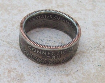Made To Order CoPPeR NiCKLe HaNDMaDe Jewelry CONNECTICUT STaTe QuaRTeR  CHRiSTMaS GiFT or SToCKiNG STuFFeR You Pick the Perfect Size 5-10