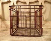 Vintage Wire Metal Milk Crate - Knudsens  - Raspberry Colored