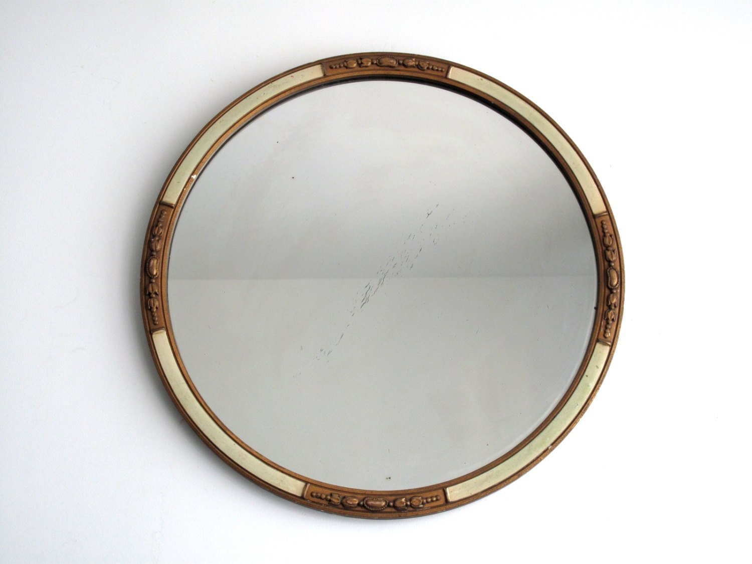 Gold Round Wall Mirror Wood Framed Hanging By Snapshotvintage