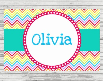 Rainbow Chevron Personalized Placemat - PRINTABLE - DIY - Birthday Gift - Laminate for reuse - 11x17 Girl or Boy