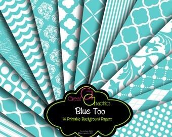 Blue Wedding Paper Printable Wedding Digital Paper Blue Printable Paper for Wedding Invitations - Instant Download