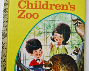 Vintage Little Golden Book - A Visit to the Children's Zoo - Vintage Childrens Book- Animal Storybook