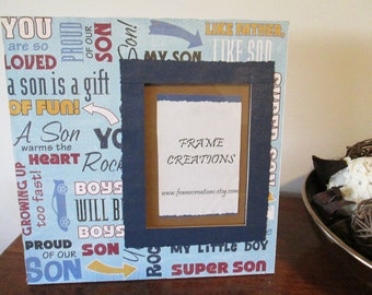 5x7 Son Themed - Hand Decorated Picture Frame