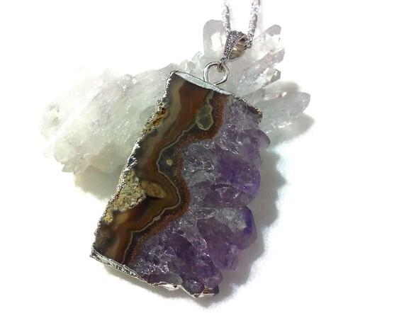 Purple Amethyst Slice Bridal Necklace, Purple Druzy Jewelry, Drusy Necklace, Sterling Silver Chain, Stalactite Pendant