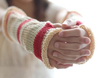 Custom Hand Knit Red Beige Arm Warmers, Knitted Arm Warmers, Knits for Women