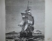 Antique French Engraving View of the boat La Novara in front of Saint Paul Island 1860