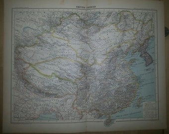 Antique  Map of the Chinese Empire - 1891 Large Map of China 18 by 14 inches