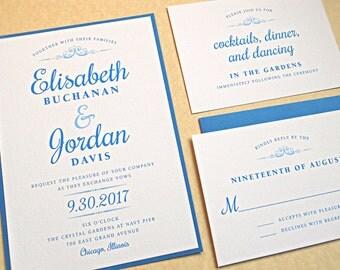 Wedding Invitation Suite / Modern Wedding Invitations, Vintage Script Design - Deposit