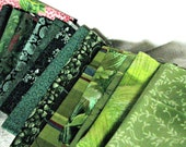 Vintage Shades of Green Designer Fabric Remnants / Quilt Blocks Unused  All Cotton for Quilts & Crafts