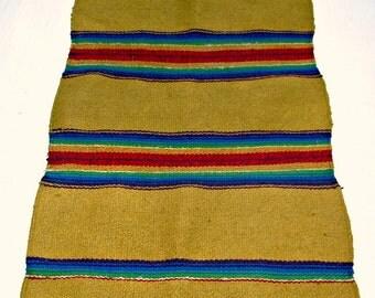 Vintage Rug Wall Hanging Carpet Yellow Ocher Purple Fringe Red Green & Blue Stripes