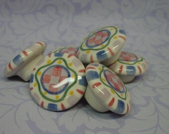 Whimsical Ceramic Round Knobs, Hand Painted, Colorful, Cottage  By the knob, 18 Available