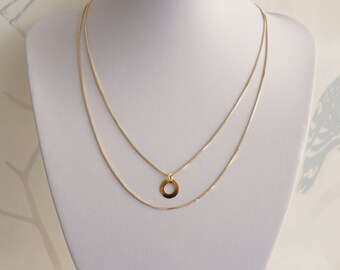 SMALL CIRCLE PENDANT On Double layered Necklace Gold Vermeil 18k, Minimalist Circle Jewelry