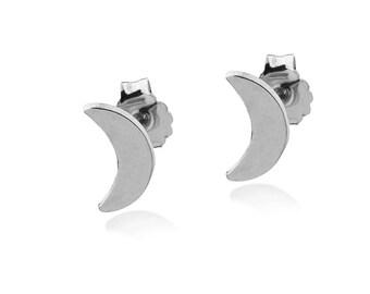 MOON STUD EARRINGS Sterling Silver 925 Crescent Moon Post Earrings, Everyday Minimalist Jewelry