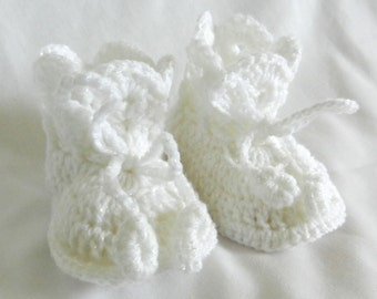 Baby Booties Snow White Crochet 3 - 6 - 9 Months
