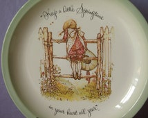 Vintage 1970's Holly Hobbie decorative plate, Keep a Little Springtime in Your Heart All Year, 1972, girl's bedroom decor, birthday gift