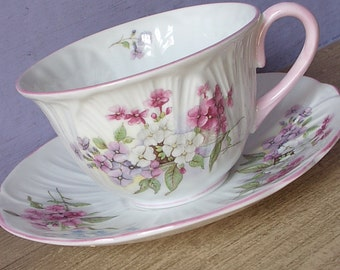 Antique 1940's Shelley china orleander tea cup, pink and white tea cup, English tea cup and saucer, antique tea cup, bone china tea cup