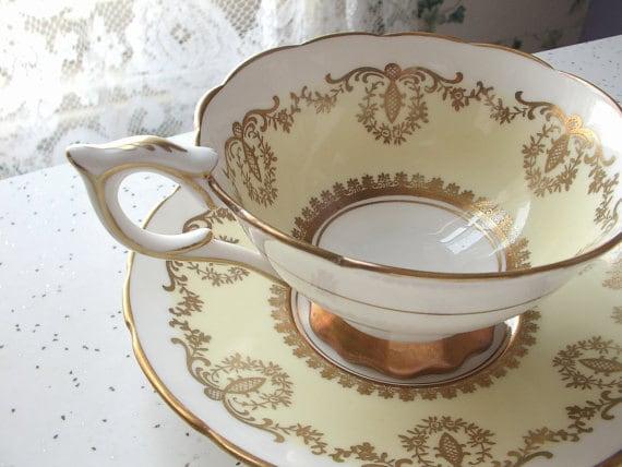 Antique Royal Stafford china tea cup and saucer set, yellow tea cup set, English tea cup, bone china tea set, yellow and gold tea cup set