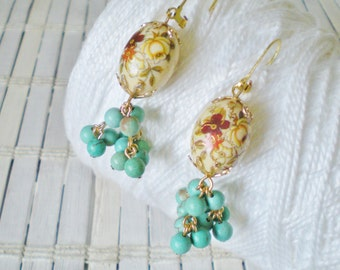 Floral Bead Earrings, Earth tones, Beaded Cluster, Vintage beads, Turquoise magnesite, Red Gold Cream, Retro style, Dangle earrings