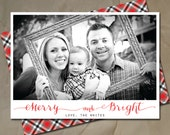 Photo christmas card, holiday card design, plaid calligraphy polaroid design, DIY or have them printed with envelopes