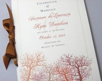 Wedding Ceremony Program Booklet Fall Wedding Autumn Trees Wedding Program Fall Colors Orange Rust Brown