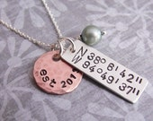 Sterling Silver and Copper Hand Stamped Initial Necklace Longitude Latitude Coordinates