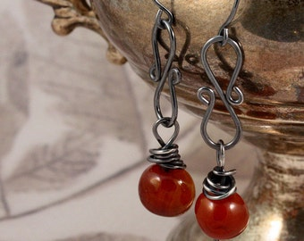 Carnelian and antiqued wire wrapped sterling silver earrings ...gorgeous amber color