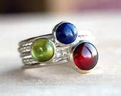 Garnet, Peridot, Lapis Silver Stacking Ring Set, FAIRGROUND