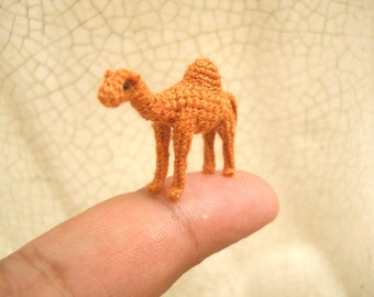 1 Inch Dromedary Camel Amigurumi - Micro Miniature Crochet Stuffed Animals - Made To Order