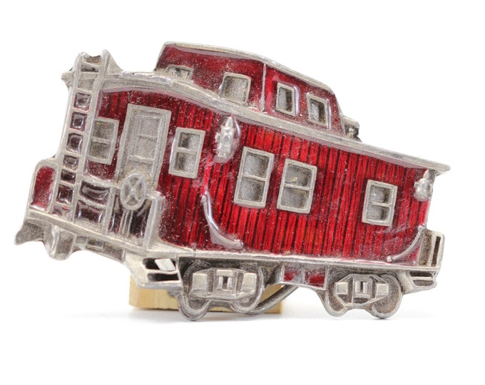 SALE Vintage Red Train Belt Buckle | Red Enamel Caboose Great American Buckle Co | True Vintage Belt Buckle | BB13