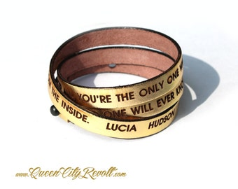 Personalized Leather Wrap Bracelet, Gold Metallic Leather, Custom Block Text, Adjustable