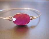 PINK RAINBOW TOPAZ bangle bracelet