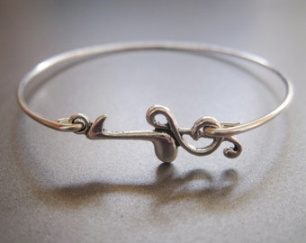 MUSIC note and treble clef bangle bracelet