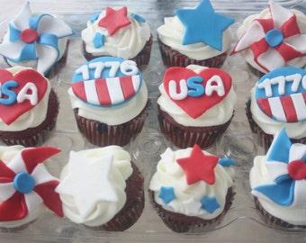 12 Fourth of July, Patriotic cupake toppers