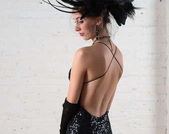 Backless black sequin alternative wedding dress handmade evening gown