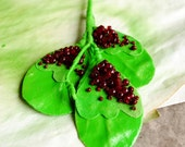 The orchard - statement embroidered largeneon leaves summer spring brooch