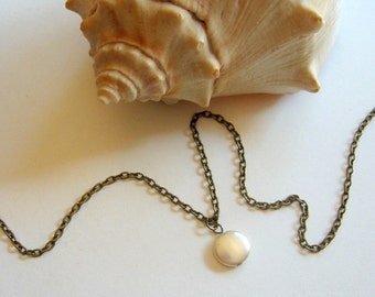 Freshwater Coin Pearl Necklace - Enchanted Petite - pearl, white, beach inspired, ocean, Summer, minimal, simplicity, casual everyday, gift