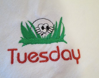 White velour embroidered Golf towel with grommet and hook customizable