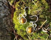 Tigers eye and sterling silver organic swirls wire wrapped earrings
