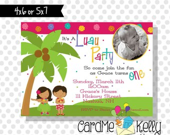 Printable Palm Tree Hula Birthday Invitation Thank you note- Printable Digital File