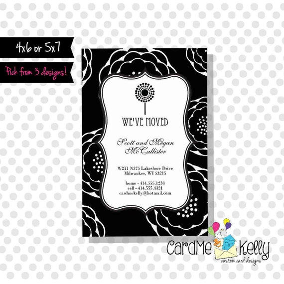 Printable 3 Designs to pick from - 4x6 Change of Address New Home card - Digital File