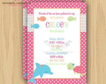 12 Printed Invitations By Serendipity Celebrations -Pink Sea -Birthday -Baby Shower -Printing Service