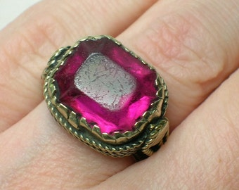 Tribal Ring, Pink Paste Stone, Chunky Ethnic Boho Statement. Size 5 1/4