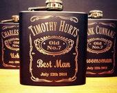 6 Groomsman Flask Set ~ With Free Custom Engraving ~ 6 oz Matte Black Stainless Steel Flask ~
