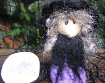 Pocket Witch - Needle Felted Purple