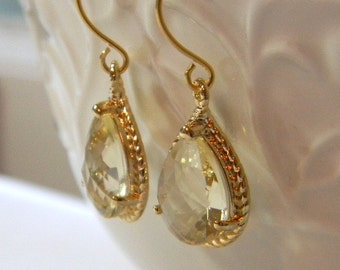 Citrine Earrings Yellow and Gold  Dangle Earrings Teardrop Glass- Sterling Silver Earwires - Bridesmaid Earrings Wedding Earrings