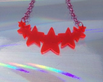 Pink Stars laser cut acrylic necklace