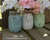 Painted Mason Jars. Vintage looking Home Decor. Distressed Vase.