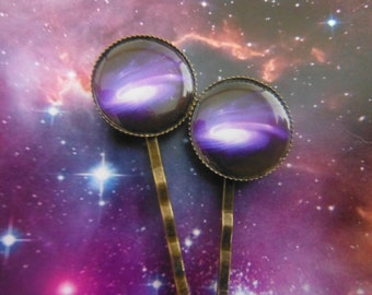 2 x Purple Outer Space Galaxy  Hair Clips Bobby Pins.Nebula Galaxy